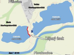 441062 Malé štěrkopískoviště Příšovice s vyznačeným hájeným úsekem.
